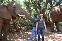 """Molly getting """"kissed"""" by the elephant"""